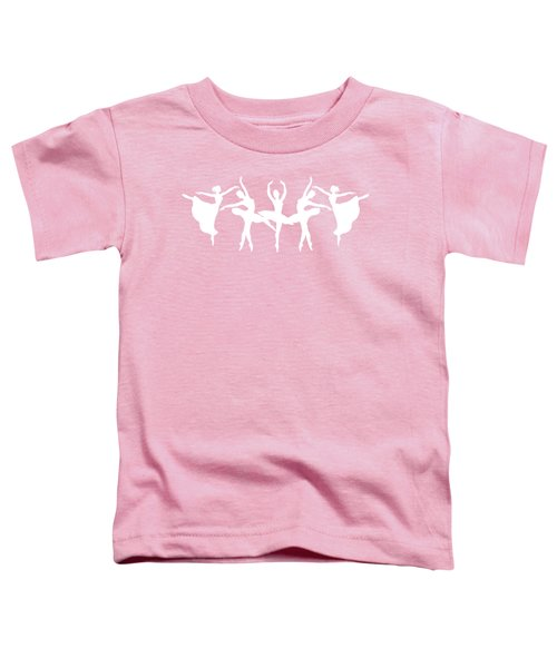 Passionate Dance Ballerinas Silhouettes In White Toddler T-Shirt
