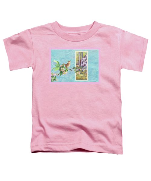 Peacock And Cherry Blossom With Wren Toddler T-Shirt