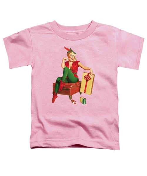 Pin-up Sexy Elf Woman With Gift Toddler T-Shirt