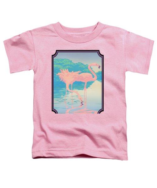 Pink Flamingos Abstract Retro Pop Art Nouveau Tropical Bird Art 80s 1980s Florida Decor Toddler T-Shirt by Walt Curlee