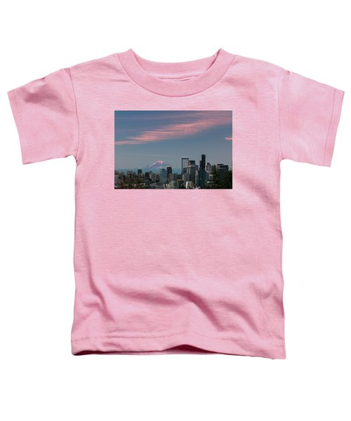 Pink Highlights Over Seattle-mt. Rainier Toddler T-Shirt
