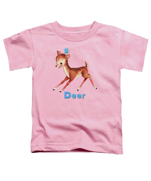 Playful Baby Deer Pattern Toddler T-Shirt
