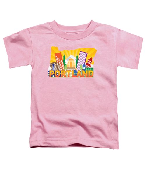 Portland Oregon Skyline In State Map Toddler T-Shirt
