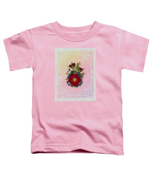 Pressed Flowers Arrangement With Red Roses Toddler T-Shirt