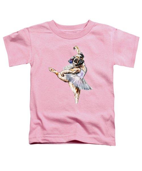 Pug Ballerina Dog Toddler T-Shirt