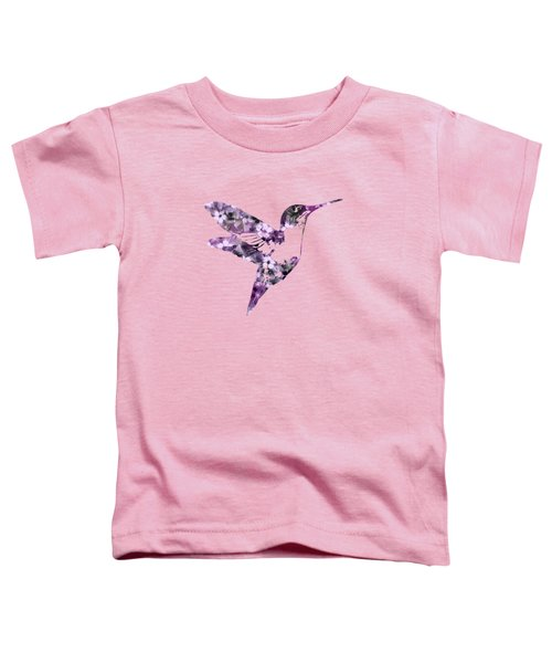 Purple Floral Hummingbird Art Toddler T-Shirt