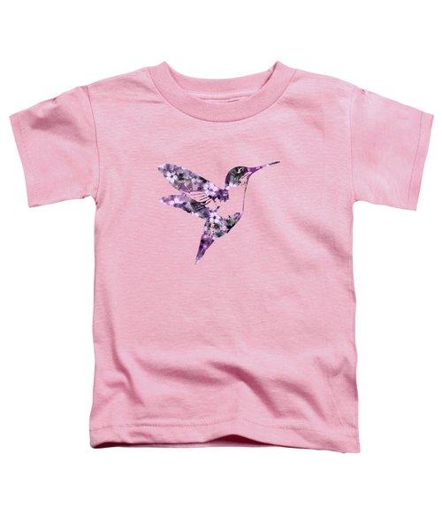 Purple Floral Hummingbird Art Toddler T-Shirt