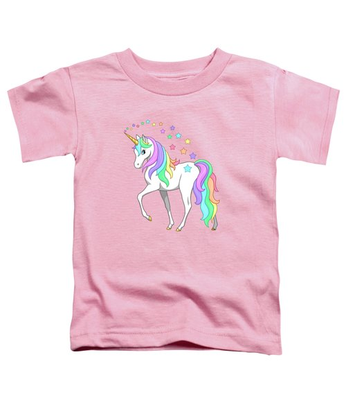 Rainbow Unicorn Clouds And Stars Toddler T-Shirt by Crista Forest