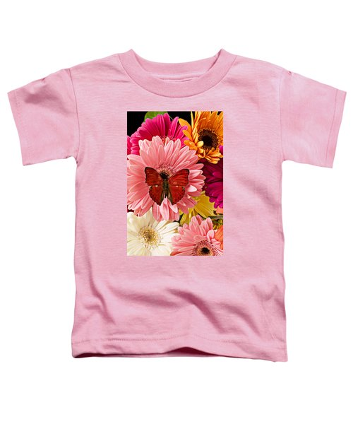Red Butterfly On Bunch Of Flowers Toddler T-Shirt