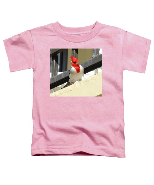 Red-crested Cardinal Posing On The Balcony Toddler T-Shirt