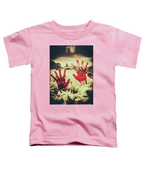 Red Handprints On Glass Of Windows Toddler T-Shirt