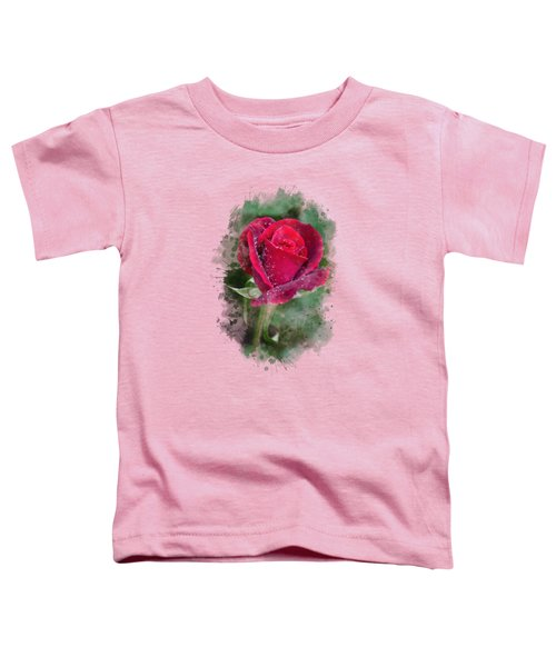 Red Rose Watercolor Art Toddler T-Shirt