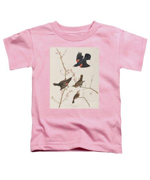 Red Winged Starling Or Marsh Blackbird Toddler T-Shirt by John James Audubon
