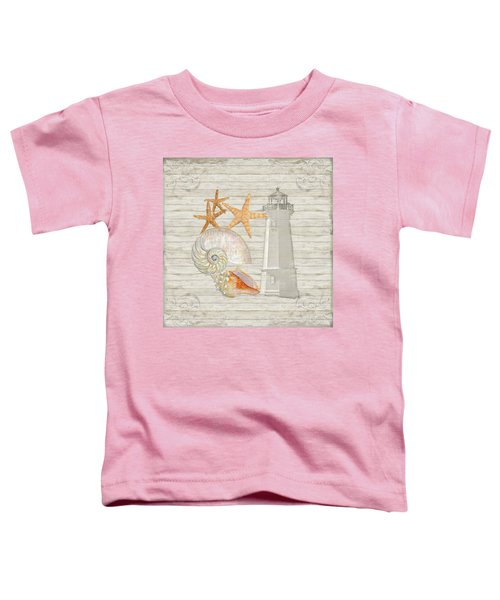 Refreshing Shores - Lighthouse Starfish Nautilus N Conch Over Driftwood Background Toddler T-Shirt