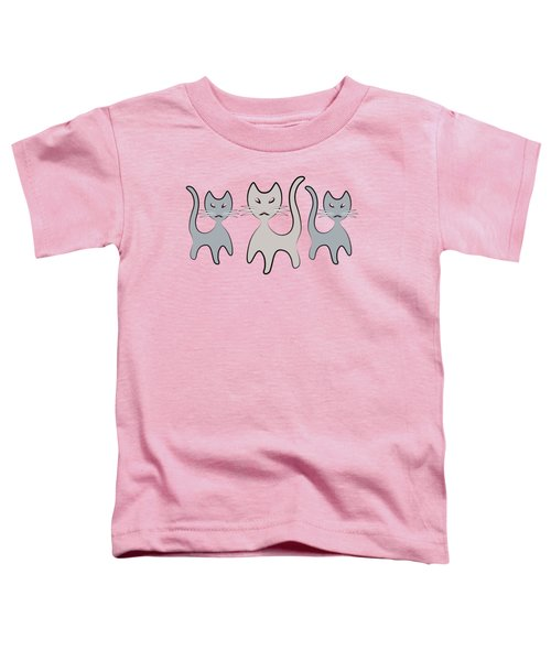 Retro Cat Graphic In Grays Toddler T-Shirt