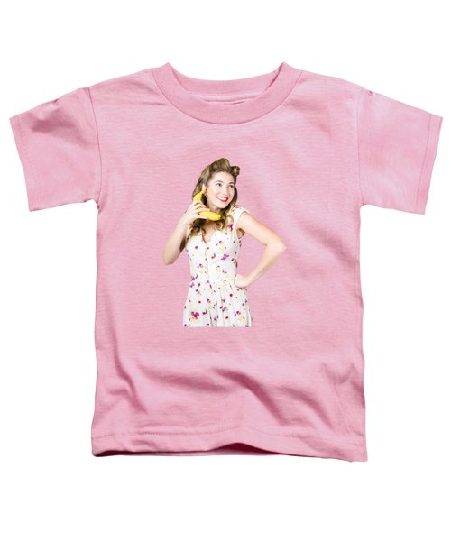 Retro Pin Up Girl Chatting On Banana Telephone Toddler T-Shirt