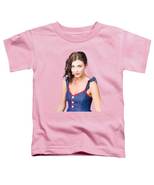 Retro Pin-up Girl In Blue Denim Dress Toddler T-Shirt