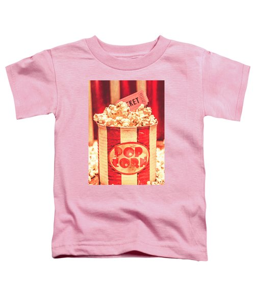 Retro Tub Of Butter Popcorn And Ticket Stub Toddler T-Shirt