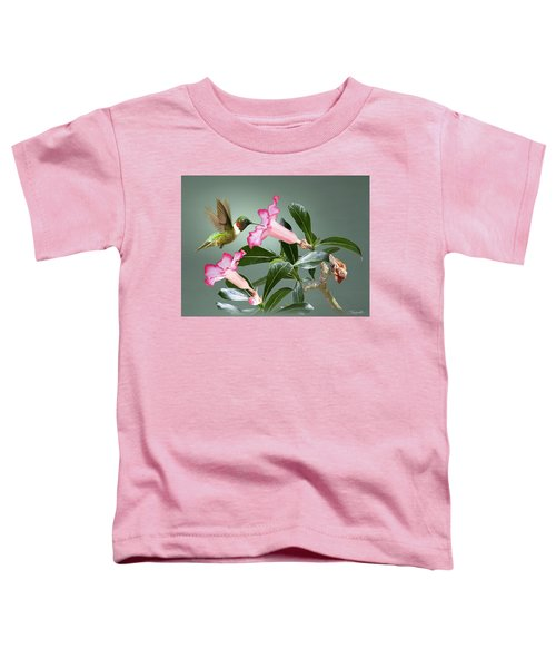 Ruby-throated Hummingbird And Desert Rose Toddler T-Shirt