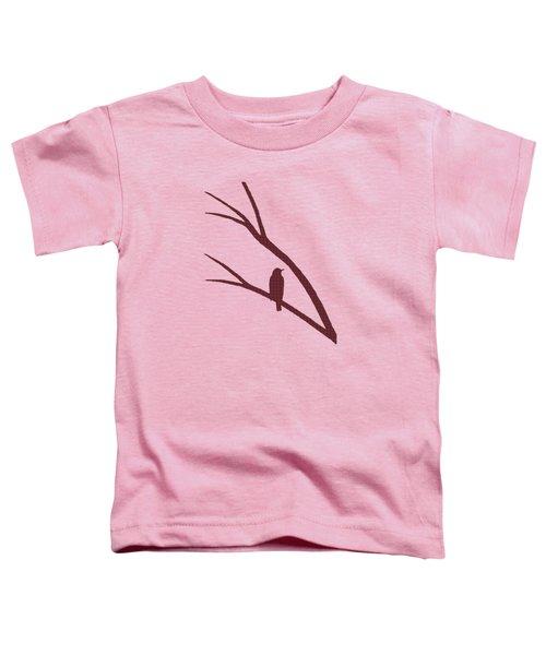 Rustic Bird Art Dark Red Bird Silhouette Toddler T-Shirt
