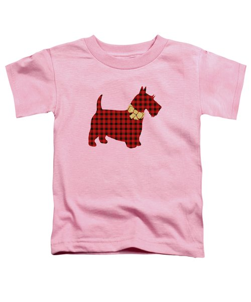 Toddler T-Shirt featuring the mixed media Scottie Dog Plaid by Christina Rollo