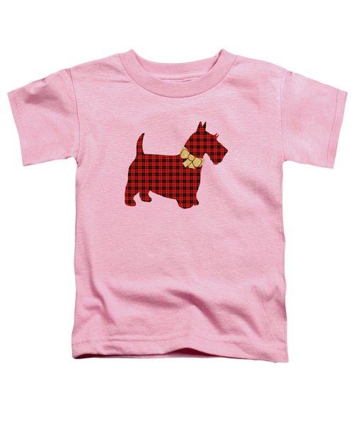 Scottie Dog Plaid Toddler T-Shirt by Christina Rollo
