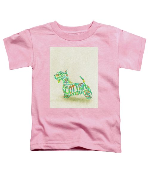 Scottish Terrier Dog Watercolor Painting / Typographic Art Toddler T-Shirt