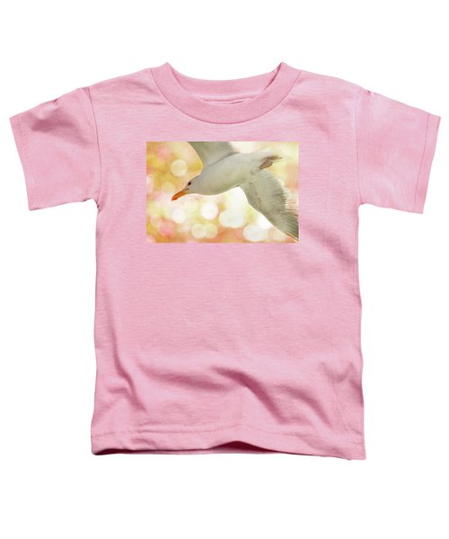 Seagull On Pink And Yellow Sky Toddler T-Shirt