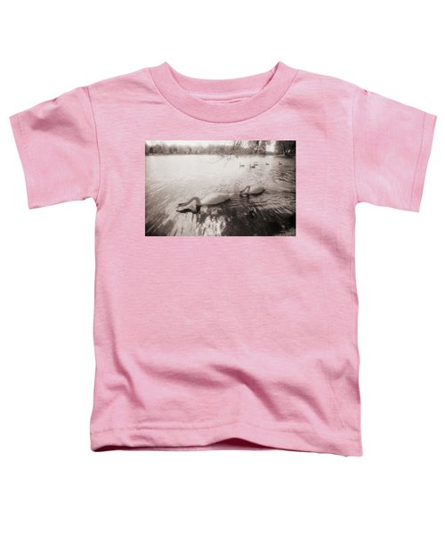 Toddler T-Shirt featuring the photograph Sepia Swans by Doug Gibbons