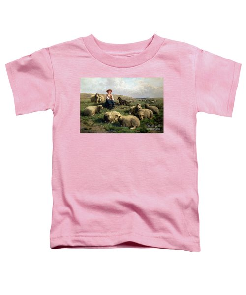 Shepherdess With Sheep In A Landscape Toddler T-Shirt