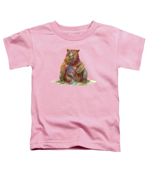 Sitting Bear Toddler T-Shirt by Amy Kirkpatrick
