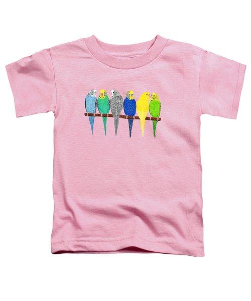Six Parakeets Toddler T-Shirt by Rita Palmer