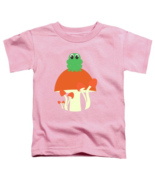 Small Frog Sitting On A Mushroom  Toddler T-Shirt by Kourai
