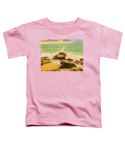 Small Ocean Waves,large Rocks. Toddler T-Shirt