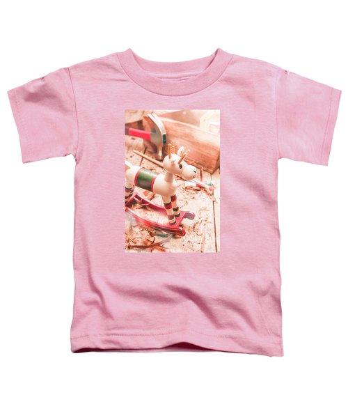 Small Xmas Reindeer On Wood Shavings In Workshop Toddler T-Shirt