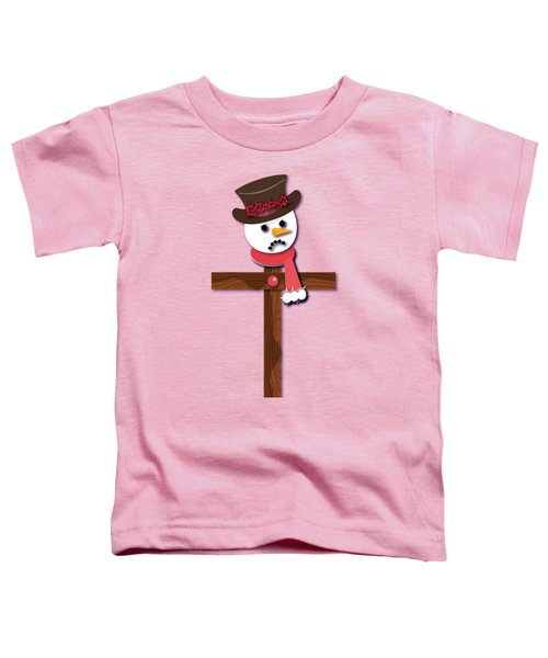 Snowman Christian Cross Toddler T-Shirt by Reggie Hart