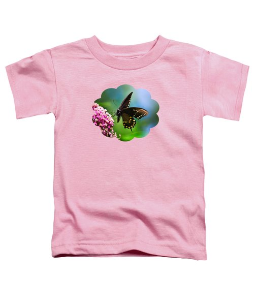 Spicebush Swallowtail Butterfly On Pink Flower Toddler T-Shirt by Christina Rollo