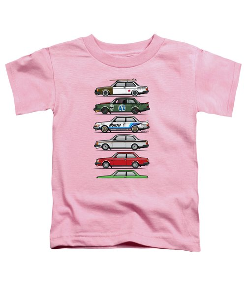 Stack Of Volvo 242 240 Series Brick Coupes Toddler T-Shirt by Monkey Crisis On Mars