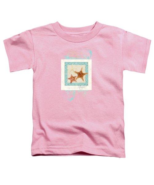 Starfish Greek Key Pattern W Swirls Toddler T-Shirt by Audrey Jeanne Roberts