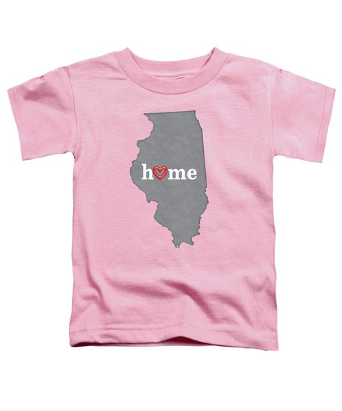 State Map Outline Illinois With Heart In Home Toddler T-Shirt
