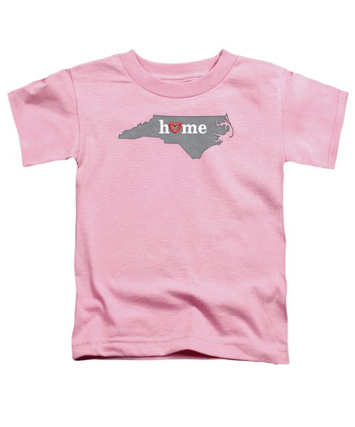 State Map Outline North Carolina With Heart In Home Toddler T-Shirt