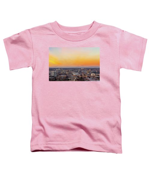 Sunset Over Portland Cityscape And Mt Saint Helens Toddler T-Shirt