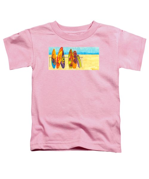 Surfing Buddies - Surf Boards At The Beach Illustration Toddler T-Shirt