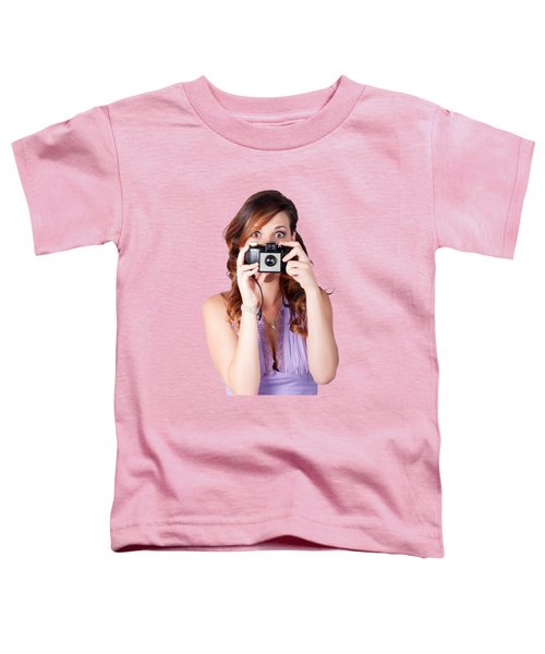 Toddler T-Shirt featuring the photograph Surprised Woman Taking Picture With Old Camera by Jorgo Photography - Wall Art Gallery