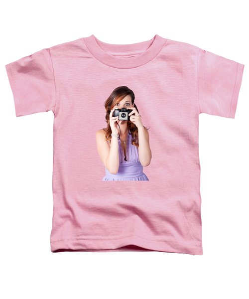 Surprised Woman Taking Picture With Old Camera Toddler T-Shirt