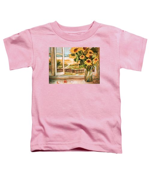 Toddler T-Shirt featuring the painting The Beach Sunflowers by Winsome Gunning