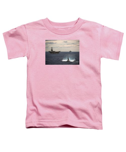 The Nimitz-class Aircraft Carrier Uss Carl Vinson And A Submarine Toddler T-Shirt