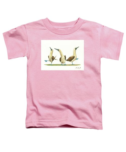 Three Blue Footed Boobies Toddler T-Shirt by Juan Bosco