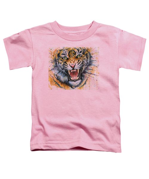 Tiger Watercolor Portrait Toddler T-Shirt