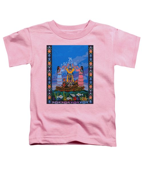 Toddler T-Shirt featuring the painting Together We Over Come Obstacles by Chholing Taha